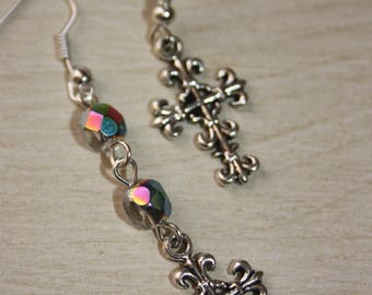 Earrings asymmetrical cross