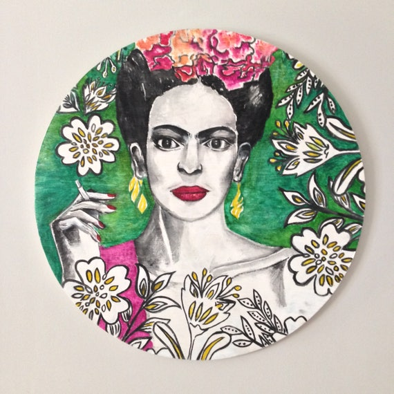 Frida Kahlo Black Feathers Boho Round Wall Art, Pop Art Design,  Timber Porthole