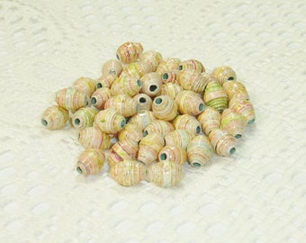 Paper Beads, Loose Handmade Jewelry Supplies Round Mixed Media Yellow