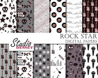 80% OFF - LIMITED TIME - Music Digital Papers, Rock Patterns, Guitar, Vinyl, Microphone in Black and White for Personal and Commercial Use