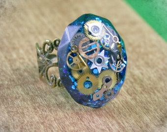 Blue  Steampunk Resin Ring with Vintage Soviet  Watch Parts . Steampunk jewelry , Watch Parts Resin Steampunk Ring