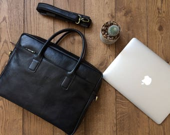 Personalized black Leather office bag for men, laptop bag for men, Shoulder bag, leather briefcase,
