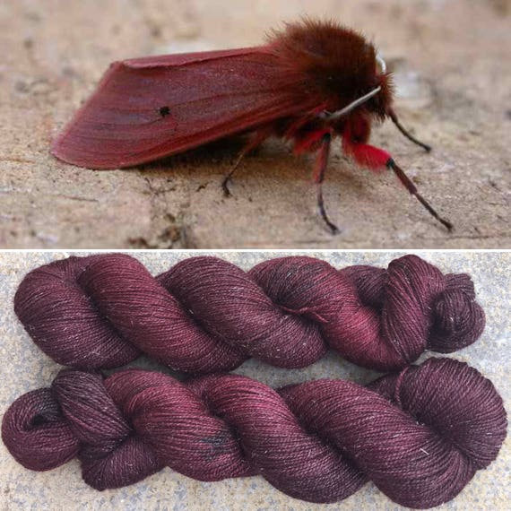 Ruby Tiger Moth Sparkle Sock, merino nylon yarn with bronze stellina