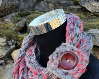 Accessories, button scarf, crochet, cuff, scarves & wraps, infinity scarf, Petite, Girls, Women, Wrap, Chain Necklace, Crochet Scarf, Button