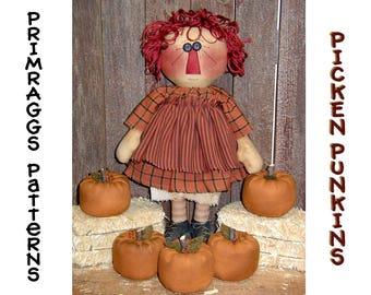 Primitive Fall PATTERN Prim Raggedy Ann Doll Pumpkins - Picken Punkins - Fall - Autumn - Primraggs - instant download