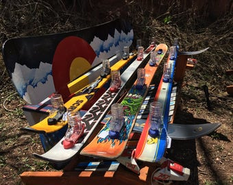 Custom Shot skis with removable glasses & bindings