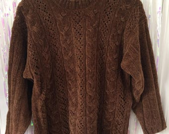 Chocolate brown cable knit soft pullover jumper