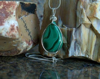 Silver wire wrapped natural mineral Malachite pendant green gemstone with necklace