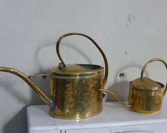 lot of two charming yellow copper watering cans, a hammered, old and original