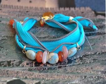 Terra Jasper turquoise aqua silk wrap bracelet - designer Sun stone and carnelian gem stones