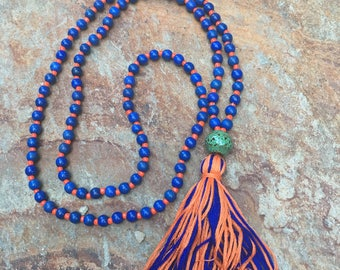 long beaded tassel necklace 108 bead mala prayer beads blue stone necklace blue orange game day necklace ladies tassel necklace gift for her