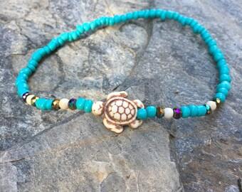 Turtle anklet turtle bracelet Turquoise blue & cream  white magnesite stone sea turtle dainty beaded stretch bracelet colorful beaded anklet