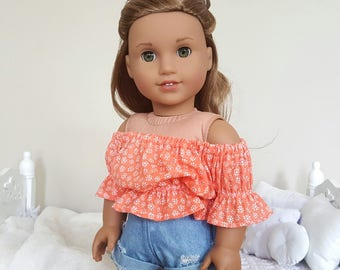 18 inch doll coral peasant blouse | floral crop top