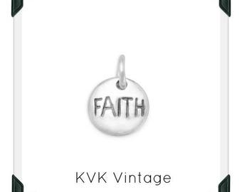 "Oxidized ""Faith"" Hand-Stamped Sterling Silver Charm"