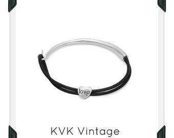 Black Cord and Sterling Silver Bracelet with Heart Slide