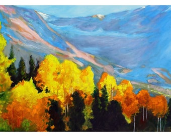 """Original Oil Painting Of Colorado Mountain Landscape, Landscape Painting, 20""""x12"""""""