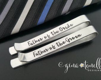 Father of Bride Gift, Gift for Father of Groom Tie Clip, Tie Clip Personalized Tie Bar, Engraved Tie Clip, Custom Tie Bar, Groomsmen Gift