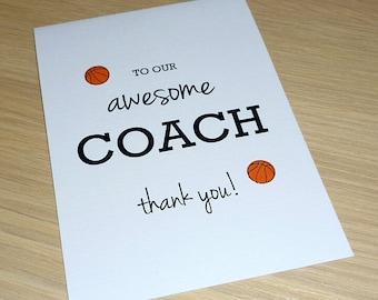 Thank you Coach card - any sport - soccer football cricket basketball netball  - handmade thank you card