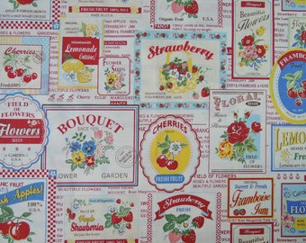 "Fat quarter of Yuwa Atsuko Matsuyama 30's Collection Fruits Label on Cream Background. Approximately 18"" x 22"" Made in Japan."