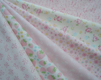 "Bundle of 1/8 Yuwa Atsuko Matsuyama 30's Collection Creamy Pink Set.  Approx 9"" x 21"" Made in Japan."
