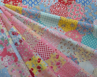 "1/8 Bundle of Lecien Old New 30's Collection Cheater Patchwork Fabric in 6 Colorways. Approx. 9"" x 21""  Made in Japan"