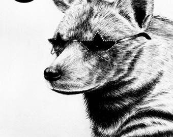 Starry Hyena  - A5 Print