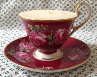 Vintage Vieux China Tea Cup and Saucer Candle