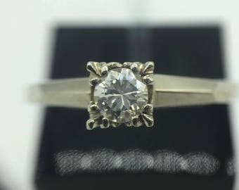 14K White Gold Tiffany style 0.24ct. Diamond Engagement Ring