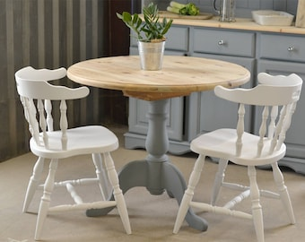 Pedestal round kitchen table, natural wood top, country dining table, dining table chairs, grey pine table, pine table, painted furniture