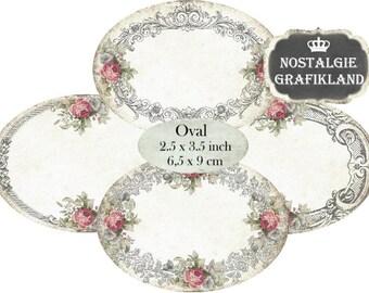 Blank Labels Frames digital Oval Ornaments 3.5 x 2.5 inch Instant Download digital collage sheet O102