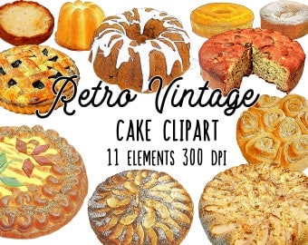 The ultimate cake clipart bundle! Baked goods digital collage sheet, food illustration, food art, digital bakery, vintage inspired,printable