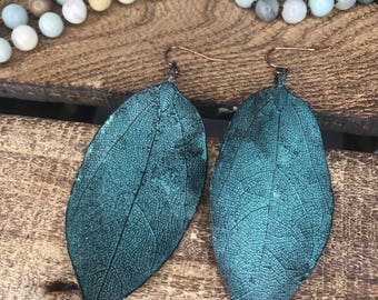 Turquoise patina leaf earrings