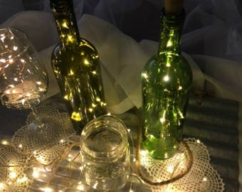Light-Up Wine Stopper Party Decor!  Wine cork lights are also used as water bottle lights. 19-inches & 10 Fairy Lights.  Wine Bottle lights.