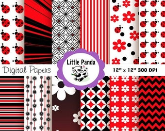 80% OFF SALE Ladybug  Digital Scrapbook Paper Pack, Commercial Use, Personal Use, 12 jpg files 12 x 12  - Instant Download - D68