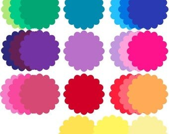 70% OFF SALE Rainbow Scalloped Circles Digital Clip Art - Personal and Commercial Use - Instant Download - C48