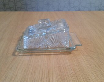 Gorgeous vintage glass butter / cheese dish