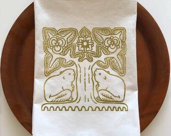 Beaver Tree Napkin/Kitchen Towel/100% Cotton/Animal Decor/Handprinted/Washable/Reusable