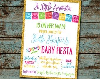 Little Senorita Baby Shower Invitation, Fiesta Baby Shower, Surprise Baby Shower, Girl Baby Shower Invitation, Senorita, Digital File DIY