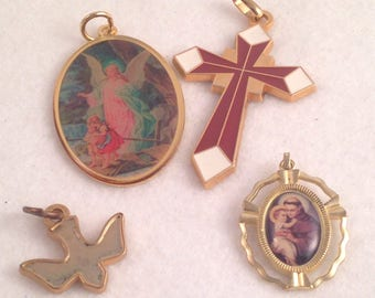 Lot of Religious Medals Cross Dove