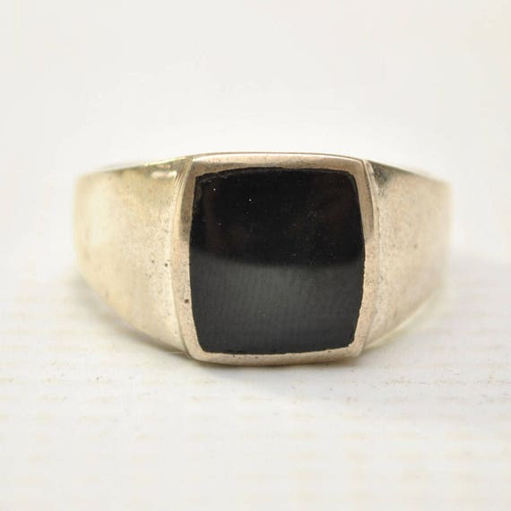 Onyx Large Square Stone in Plain Sterling Silver Ring Sz 10 #8784