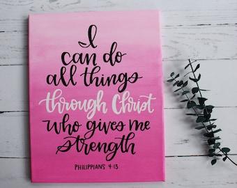 Philippians 4:13 Handmade Scripture Canvas