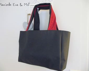 Faux leather tote bag * black and red stars