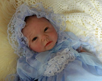 """Reborn Doll Baby  romper and  bonnet in blue with blue  lace for 18-20"""" reborn dolls clothes   doll clothes baby vintage doll"""