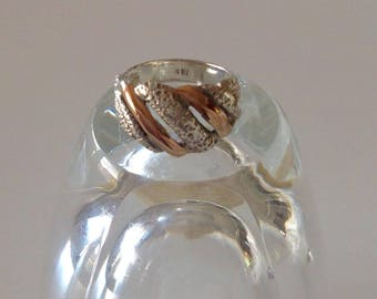 Sterling silver ring with gold bands, sterling silver ring, silver gold ring