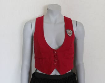 Women's Vest Red Vest Red Womens Vest Formal Fitted Waistcoat Small Size