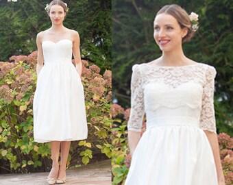 Tea length wedding dress/ 50s retro wedding dress/ strapless bustier satin wedding dress/ lace bolero/ bolero sleeves/ Robe de mariée courte
