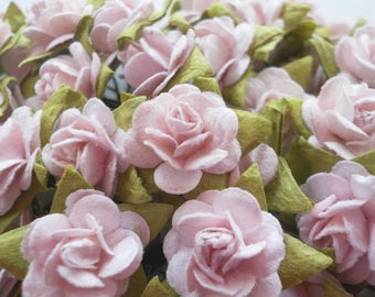 """100! Pink Paper Roses, Mulberry Paper Roses, Flower Embellishments, Scrapbook Flower, Pink Paper Flower, Pastel Pink Roses, 10mm/ 0.4"""""""
