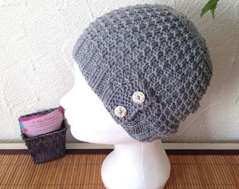 Hat woman or teen structured grey color