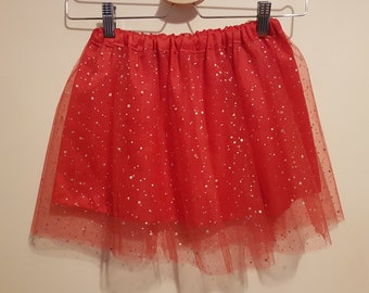 Bright Red Sparkly Tulle Skirt  - Age 4-5