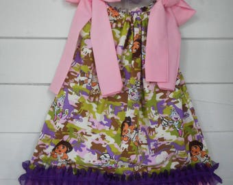 Handmade Dora the Explorer Pillowcase Dress Dora Dress Dora Hair Bow Girls Character Dress